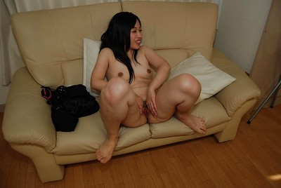 Smiley Japanese young in cylinder getting as was born and teasing her shaggy bawdy cleft