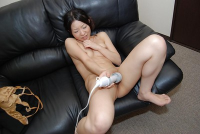 Oriental MILF Shizuka Saeki striptease down and playing with a marital-device