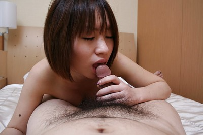 Chinese infant gives head and receives her curly cunt creampied right after very