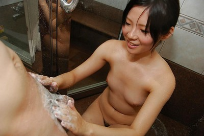 Young Japanese hotty Ami Nagashima gives a carnal fellatio with hairy pouch licking