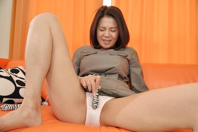 Chinese MILF in hose getting rid of her slave and toying her bawdy cleft