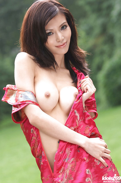 Perfect Japanese hottie gradually striptease off her  and amplifying her legs