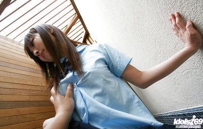 Servant eastern schoolgirl strips and penetrated doggie-style