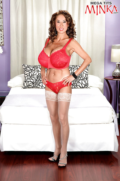 Chesty mellow Oriental pretty Minka strutting in underclothes and nylons