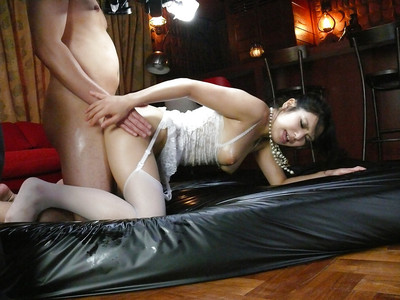 Stocking attired Jap playgirl Kanade Otowa sporting creampie exactly after MMF fucking action