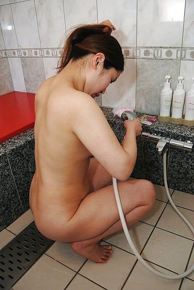 Sexual oriental MILF with ample apple bottoms Ayako Sakuma enchanting baths and washroom