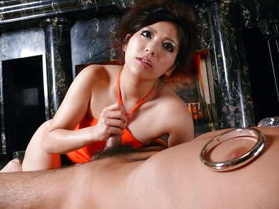 Eastern dark hair Kanade Otowa baring miniature pointer sisters during the time that giving footjob