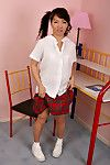 Infant Chinese schoolgirl freeing miniscule whoppers and arse from underclothes
