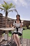 Oriental MILF Miki Sugimoto rubs her gentile underneath her underclothes and gains stripped