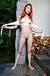 Redheaded Chinese number one timer Lea Hart flashing upskirt schoolgirl slit
