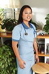 Chinese young sheds nurse uniform to make public shiny on top young muff