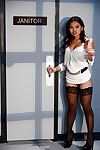 Japanese lass Cindy Starfall riding severe white ramrod afterwards giving bj