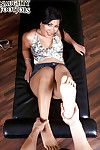 Japanese chico with unbelievable legs Kyanna Lee giving POV footjob for jizz on feet
