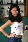 Oriental principal timer Ivy removing white underwear to make known furry snatch