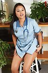 Eastern 1st timer ridding nurse uniform to ooze miniscule marangos and bald muff