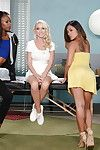 Japanese gal Kaylani Lei, Ebon sweetheart Madison Scott and Marie Luv have lesbo copulation