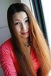 Japanese MILF Ayako Sakuma undressing and showcasing her clammy fur pie in close up