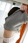 Oriental MILF Michiko Sudo undressing and vibing her trimmed vagina
