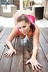 Fascinating Asian playgirl London Keyes and her went in teats pose topless
