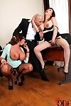 Chesty office workers Emma Arse & Tigerr Benson take anal intercourse despite the fact Threesome
