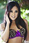 Foxy eastern girl Kaylani Lei jolly off her underware outdoor