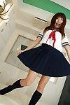 Joyful eastern angel Megumi Kitigawa undressing and stretching her untamed legs