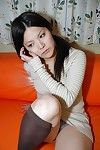 Sassy Chinese lass in nylon knee socks strips and has some love-cage vibing enjoyment