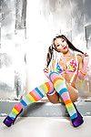 Hawt Japanese angel Asa Akira posing non exposed in hope socks and pigtails