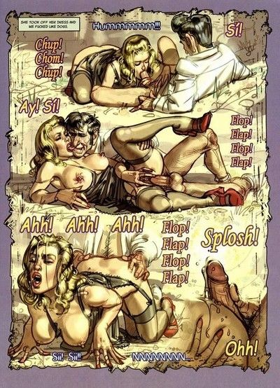 Tough dude makes love two sweaty ladies in porn comics