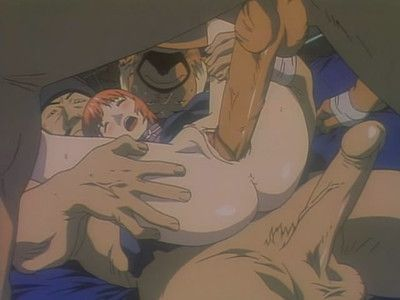 Kinky anime with two males filling model with jizz