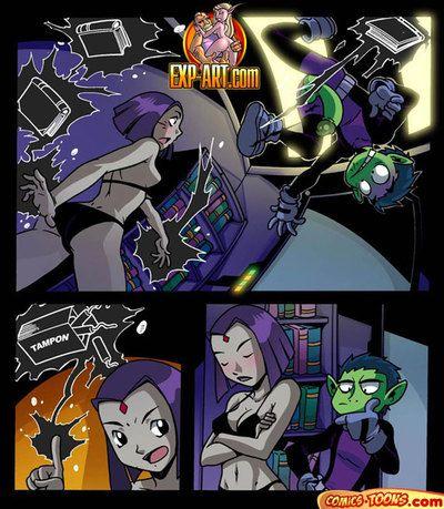 Teen Titans - Raven fingering Beast Boyish sub