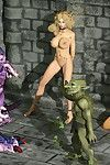 Leggy elf slave with major breasts mercilessly gang team-fucked by hideous hell fuckers