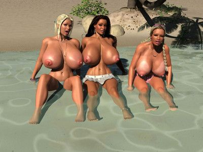 Three huge breasted 3d babes sunbathing without clothes on the beach