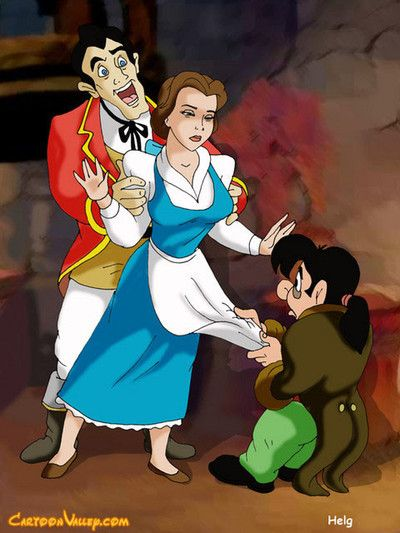 Belle is doubled teamed by gaston and lefou