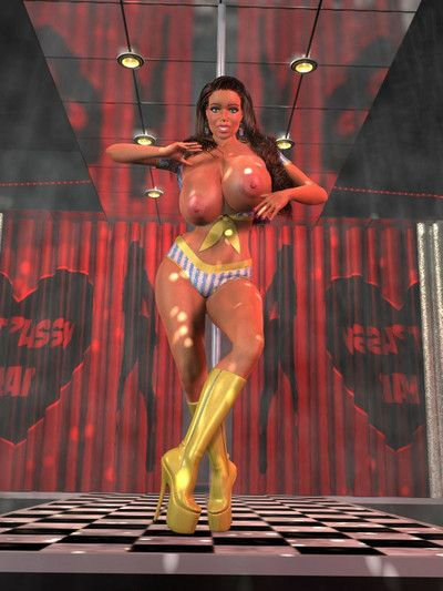Sexy 3d brown hair with colossal titties shows erotic dancing