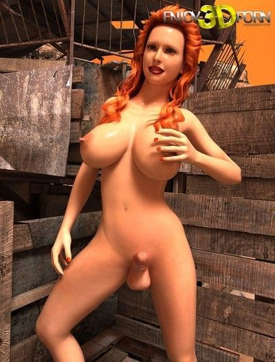 Breasty slutty redhead unnatural girls with enormous rod