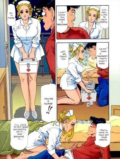 Immense titted nurse comic smoking