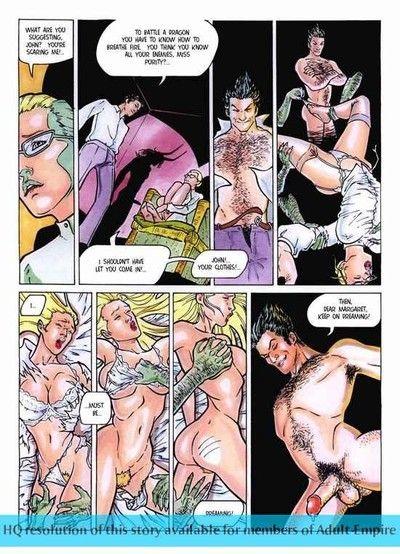 Strong dude bangs 2 sweaty ladies in porn comics