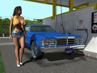 Huge breasted topless 3d brunette chicito washing a car