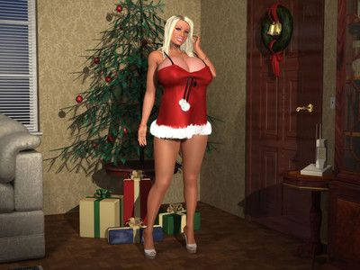 Busty 3d babe jingles her big christmas bells for you