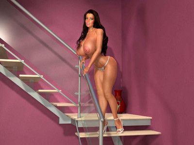 Flawless 3d lass shows large love muffins on the stairs