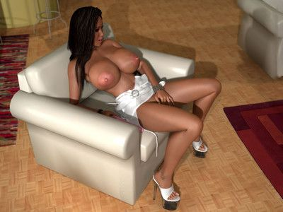 Bigtitted 3d princess wearing no strings for her penis stimulator session