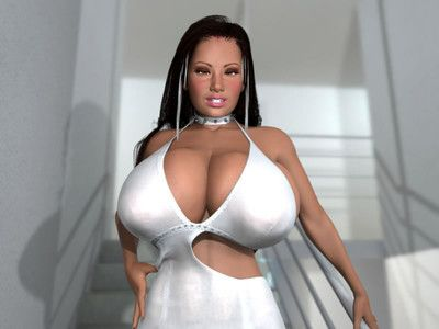 Lascivious 3d brunette hair with massive hooters posing on a stairs