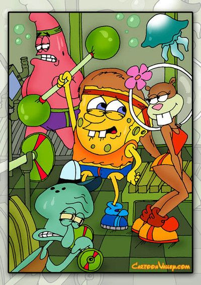 Sponge bob and his assistants fix on to groupie sandy