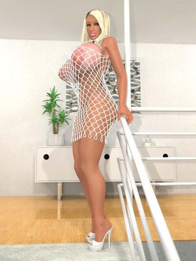 Busty 3d fairy in fishnet body costume girl posing on the stairs