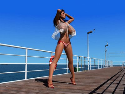 Big breasted 3d dark hair shows her hawt body on the pier