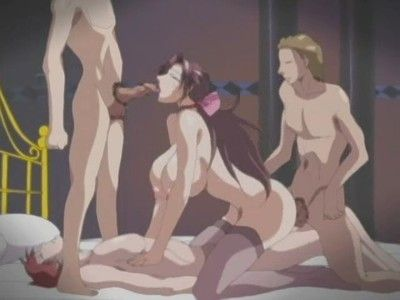 Provoking gal receives 2 dick-holders sperm in bawdy hentai
