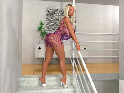 Large breasted 3d blonde dear poses in fishnet costume