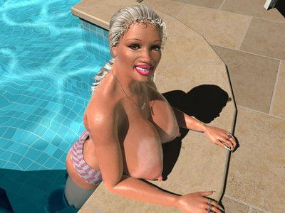 Mammoth breasted 3d blond queen swimming topless in pool