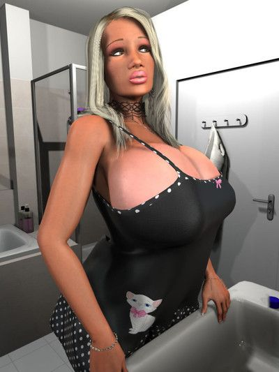 Drenched normal 3d massive tits blond gal in the shower-room